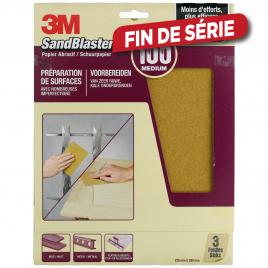 Feuille abrasive SandBlaster à grain moyen G100 3 pièces 3M