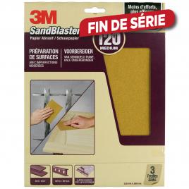 Feuille abrasive SandBlaster à grain moyen G120 3 pièces 3M