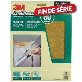 Feuille abrasive SandBlaster à gros grain G60 3 pièces 3M