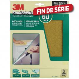 Feuille abrasive SandBlaster à gros grain G80 3 pièces 3M