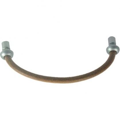 Poignée fil cuir et nickel 96 mm