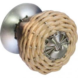 Bouton rotin naturel 35 mm