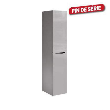 Colonne de salle de bain droite Smiley grise brillante 40 x 35 x 180 cm ALLIBERT