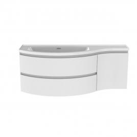 Meuble de salle de bain Verso blanc brillant 130 x 50 x 49,5 cm ALLIBERT