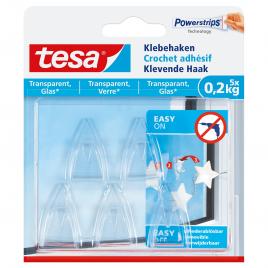 Crochet adhésif pour verre et surface transparente 0,2 kg TESA