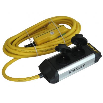 Multiprise 2 prises avec clapet et interrupteur différentiel 5 m STANLEY