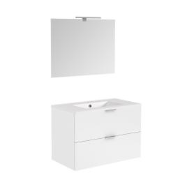 Meuble de salle de bain avec vasque et miroir Euro Pack blanc brillant 80 cm ALLIBERT