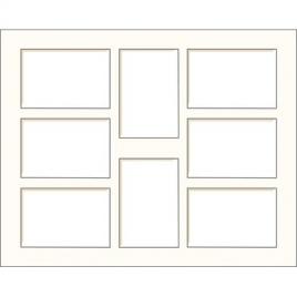 Passe-partout blanc cassé 50 x 40 cm à 8 ouvertures