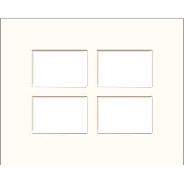 Passe-partout blanc cassé 50 x 40 cm à 4 ouvertures