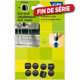 Embout enveloppant en plastique pour pied Ø 12 mm 8 pièces