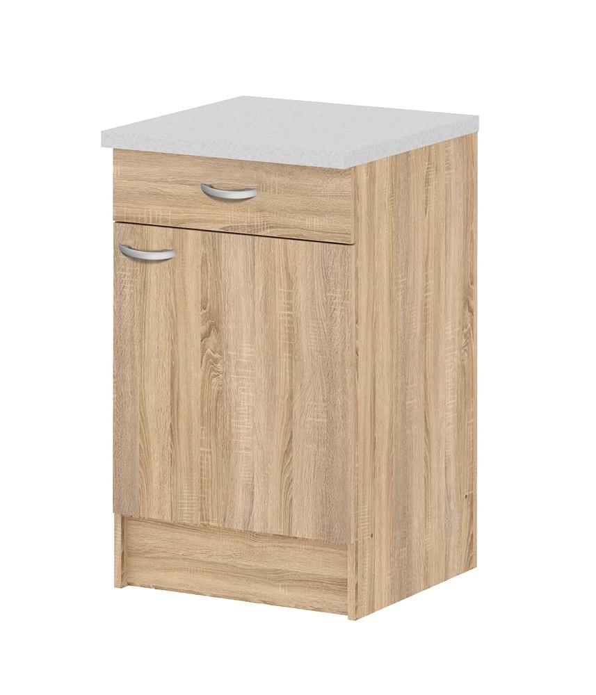 Organiser Meuble Sous Evier meuble de cuisine bas casa chêne avec 1 porte et 1 tiroir - mr.bricolage