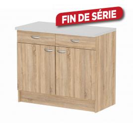 Meuble de cuisine bas Casa chêne avec 2 portes et 2 tiroirs