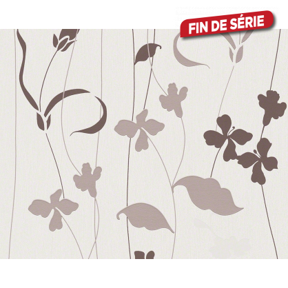 Papier peint Herbier taupe chocolat
