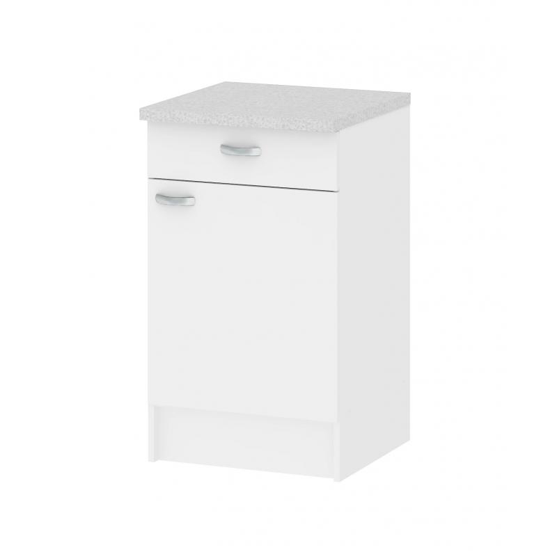 Meuble de cuisine bas casa blanc avec 1 porte et 1 tiroir - Meuble bas avec tiroir ...