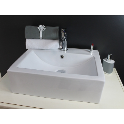 vasque c ramique rectangulaire blanc cubic lt aqua. Black Bedroom Furniture Sets. Home Design Ideas