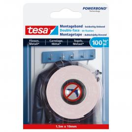 Adhésif double-face de fixation pour carrelage et métal 100kg/m POWERBOND TESA