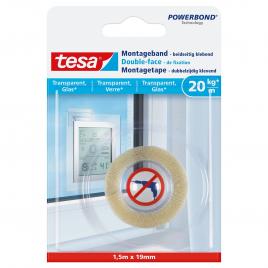Adhésif double-face de fixation pour verre et surfaces transparentes POWERBOND TESA
