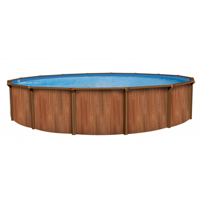 Piscine hors sol ronde en acier imitation bois atlantic pools for Piscine ronde