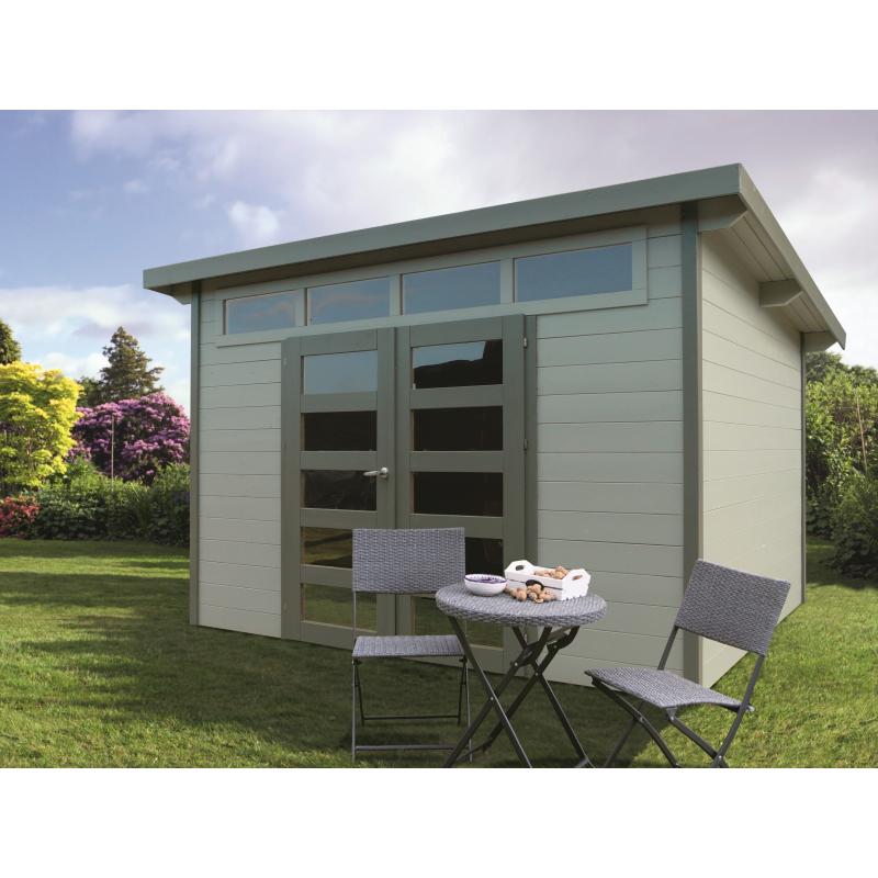 abri de jardin moderne verona 28 mm 3 03 x 2 43 m avec double porte solid. Black Bedroom Furniture Sets. Home Design Ideas