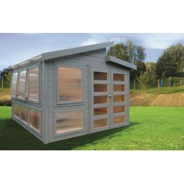 Abri de jardin serre moderne Merano 28 mm 3,03 x 3,03 m avec double porte SOLID