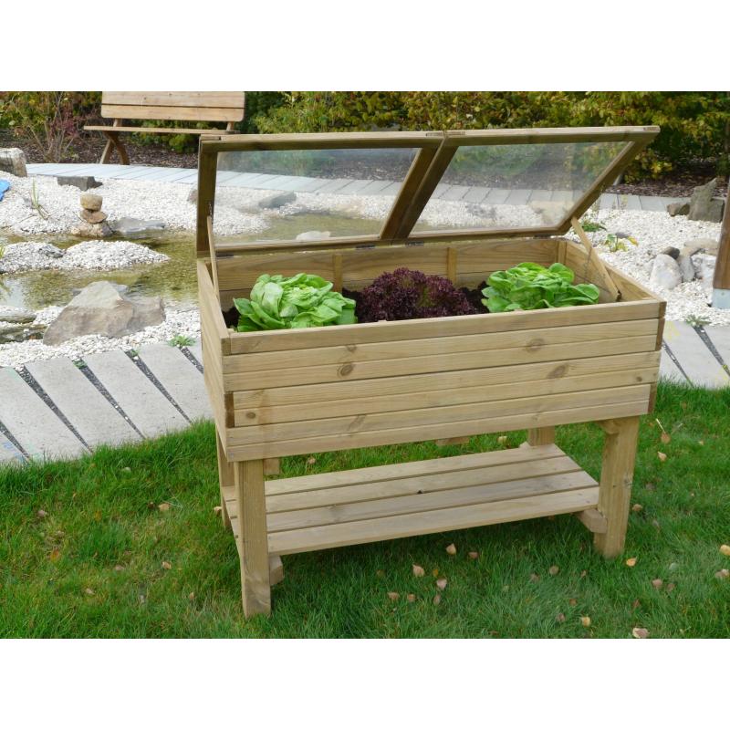 Carr potager sur pieds avec serre 120 x 60 x 90 cm solid for Jardin potager sur pieds