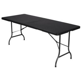 Table pliante imitation rotin noir
