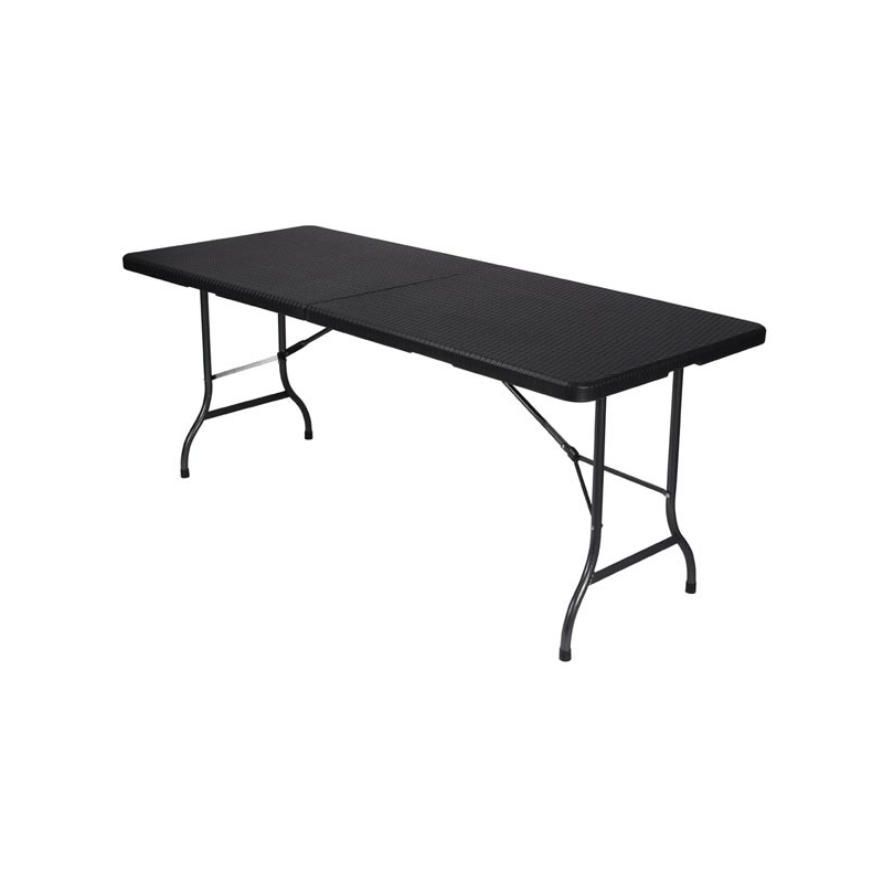 Table Pliante Imitation Rotin Noir