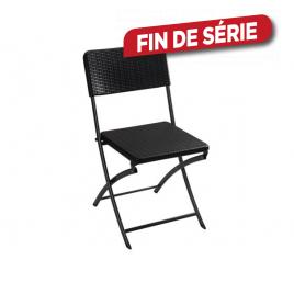 Chaise de jardin pliante imitation rotin noir
