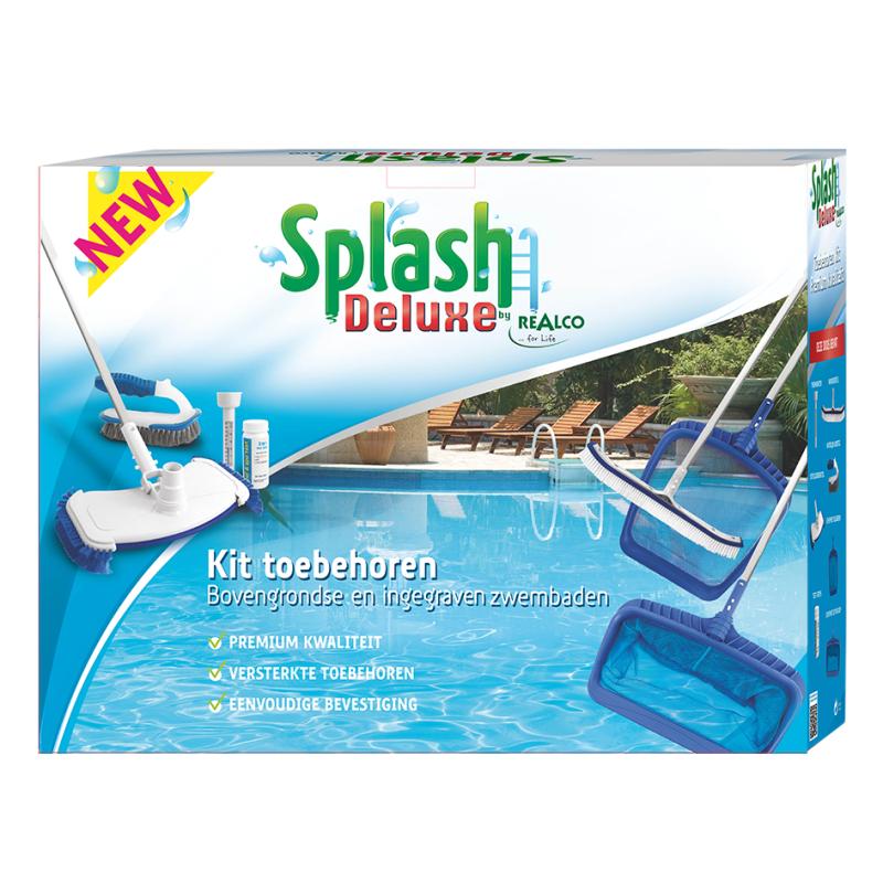 kit d 39 accessoires pour le nettoyage de piscine splash. Black Bedroom Furniture Sets. Home Design Ideas