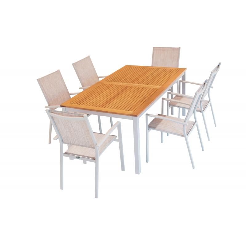 Ensemble de jardin ibiris ii 1 table et 6 fauteuils - Table de jardin metal mr bricolage ...