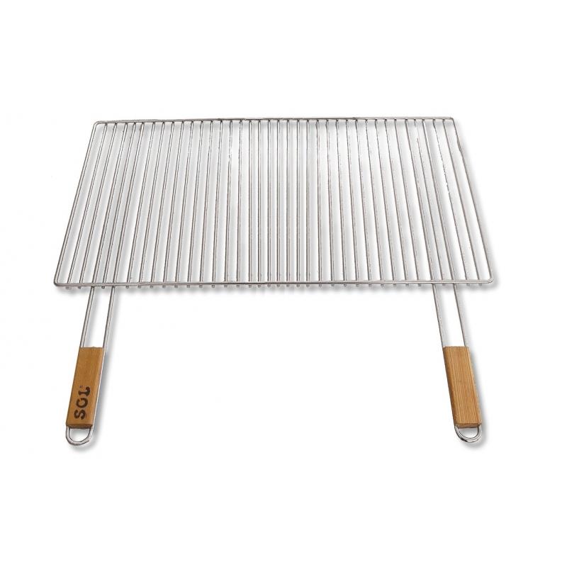 Grille de cuisson chrom e pour barbecue de 67 x 40 cm avec poign es bois - Grille de cuisson pour barbecue ...