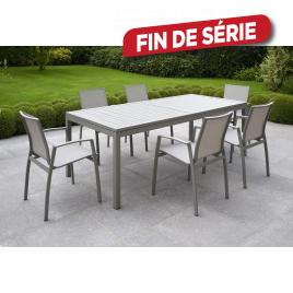 Ensemble de jardin Sullia : 1 table et 6 fauteuils