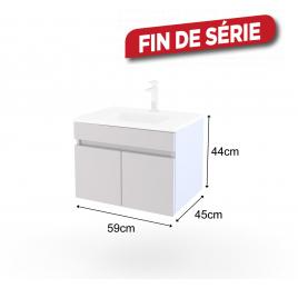 Meuble sous plan suspendu Ready AURLANE - Blanc - Porte - 60 cm