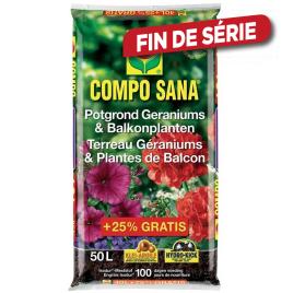 Terreau pour géraniums & plantes de balcon Sana 40 L + 25 % COMPO