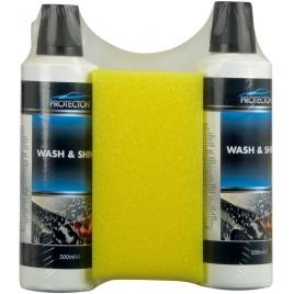 Nettoyant voiture Wash & Shine 2 x 500 ml avec éponge PROTECTON