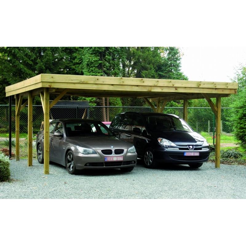 carport double pour voiture potsdam 6 04 x 5 1 x 2 1 m cartri. Black Bedroom Furniture Sets. Home Design Ideas