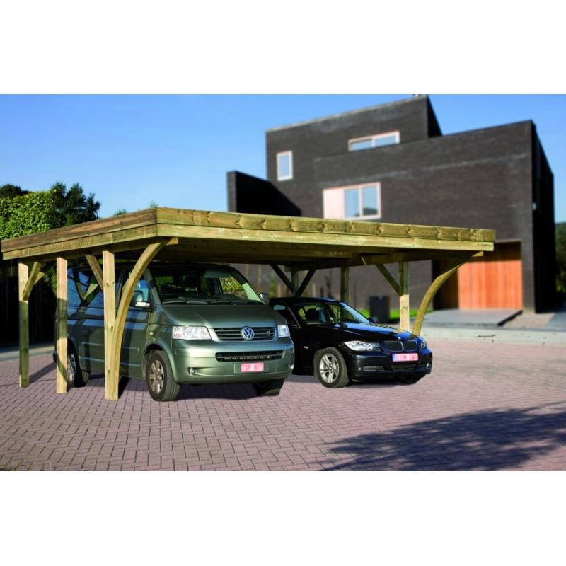 carport double pour voiture hannover 6 04 x 5 1 x 2 1 m cartri. Black Bedroom Furniture Sets. Home Design Ideas
