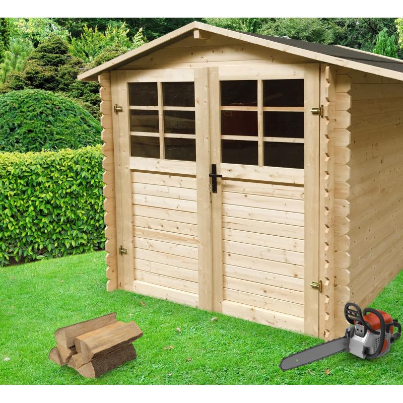 Abri de jardin carr solid en sapin traditionnel - Abri de jardin bois monsieur bricolage ...