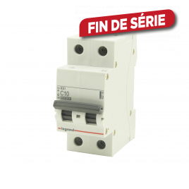 Disjoncteur C10 RX3 2 pôles 10 A LEGRAND