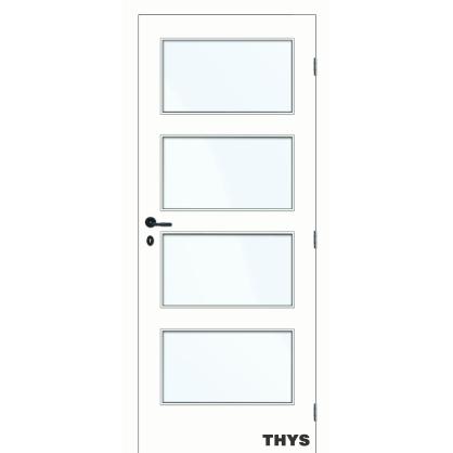 Bloc-porte à peindre S10 4 panneaux vitrés THYS
