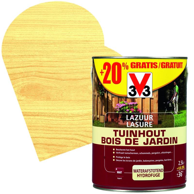 lasure bois de jardin mat 2 5 0 5 l promopack v33. Black Bedroom Furniture Sets. Home Design Ideas