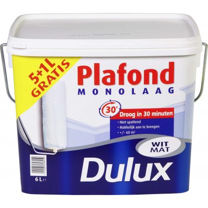 Peinture plafond mono mat blanc 5 + 1 L gratuit DULUX