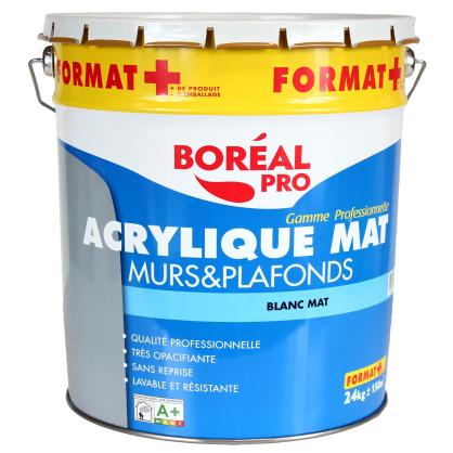 peinture acrylique blanc mat pour murs et plafonds boreal pro. Black Bedroom Furniture Sets. Home Design Ideas