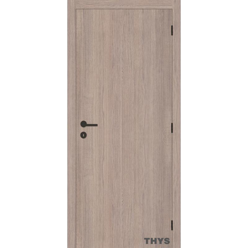 Bloc porte fini laminado s63 ch ne gris vertical 201 5 cm thys - Bloc porte 63 cm ...