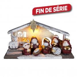 Crèche de Noël lumineuse LED en bois