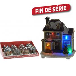 Maison de Noël en résine illuminée LED