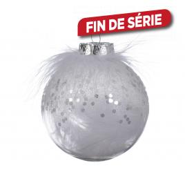 Boule de Noël transparente avec plume DECORIS
