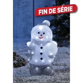 Bonhomme avec boule de neige lumineux
