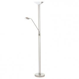 Lampadaire d'intérieur Baya LED 20 W avec liseuse 2,5 W EGLO - Nickel mat