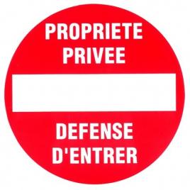 Plaque interdit et privé 18 cm